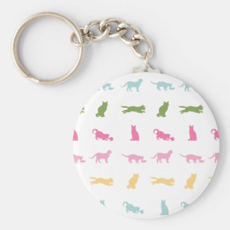 Rainbow Cat Pattern Basic Round Button Key Ring