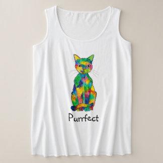 Rainbow Cat Purrfect Plus Size Tank Top
