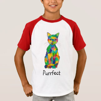 Rainbow Cat Purrfect Raglan T-Shirt (Child)