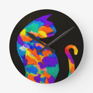 Rainbow Cat Round Clock
