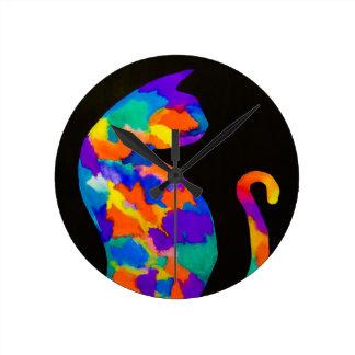 Rainbow Cat Round Clock