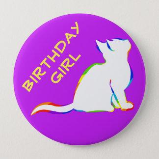 Rainbow cat, white fill 10 cm round badge