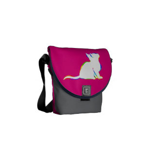 Rainbow cat, white fill commuter bag