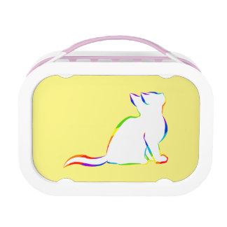 Rainbow cat, white fill lunch box