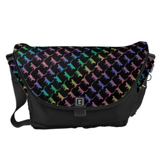 Rainbow Cats On Black Or Your Color Courier Bags