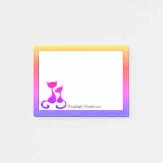 Rainbow Cats Silhouette Personalized Post-it Notes