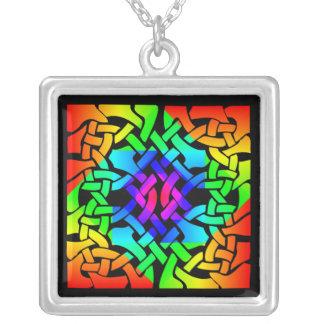 Rainbow Celtic Art Necklace