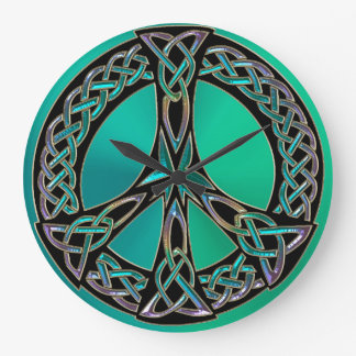 Rainbow Celtic Knot Peace Sign Clock