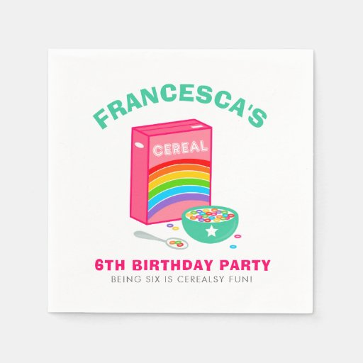 Rainbow Cereal Birthday Party Disposable Napkin