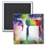 """Rainbow """"Chai"""" Life in Hebrew Square Magnet"""