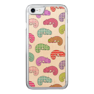 Rainbow Chameleon Pattern Carved iPhone 8/7 Case