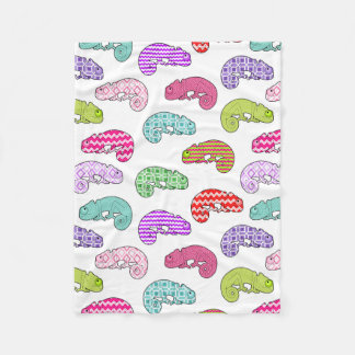 Rainbow Chameleon Pattern Fleece Blanket