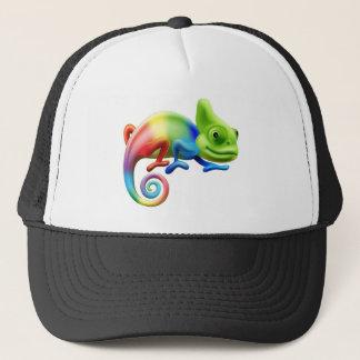 Rainbow chameleon trucker hat