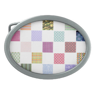 Rainbow Checkerboard pattern Oval Belt Buckle