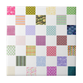 Rainbow Checkerboard pattern Small Square Tile