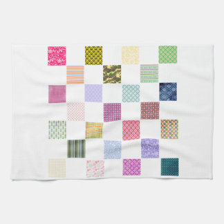 Rainbow Checkerboard pattern Tea Towel