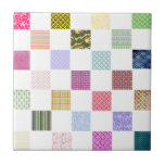 Rainbow Chequerboard pattern Small Square Tile