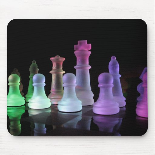 Rainbow Chess Set Mouse Pad