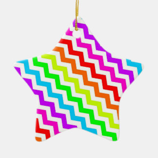 Rainbow chevron christmas ornament