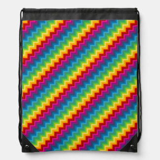Rainbow Chevron Drawstring Bag