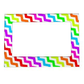 Rainbow chevron magnetic picture frame