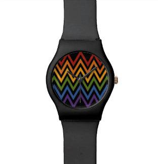 Rainbow Chevron Pattern custom watches