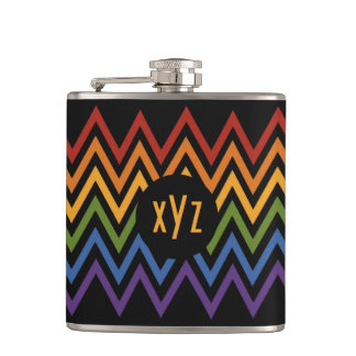 Rainbow Chevron Pattern flask