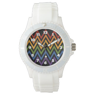 Rainbow Chevron Pattern watches