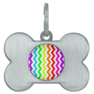 Rainbow chevron pet ID tag