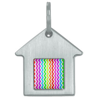 Rainbow chevron pet name tag