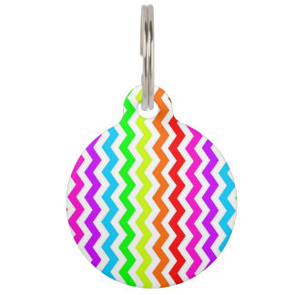 Rainbow chevron pet tag