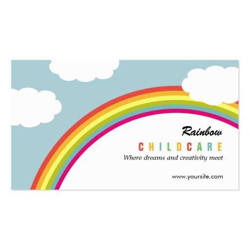 Rainbow Childcare /Day Care Business Card Business Cards