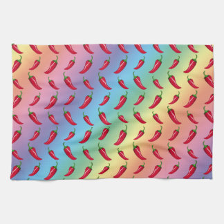 Rainbow chili peppers pattern tea towel