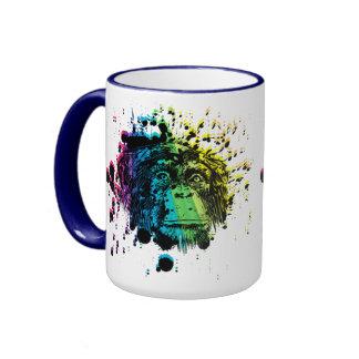 Rainbow Chimpanzee Ringer Mug