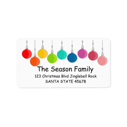 Rainbow Christmas baubles Label