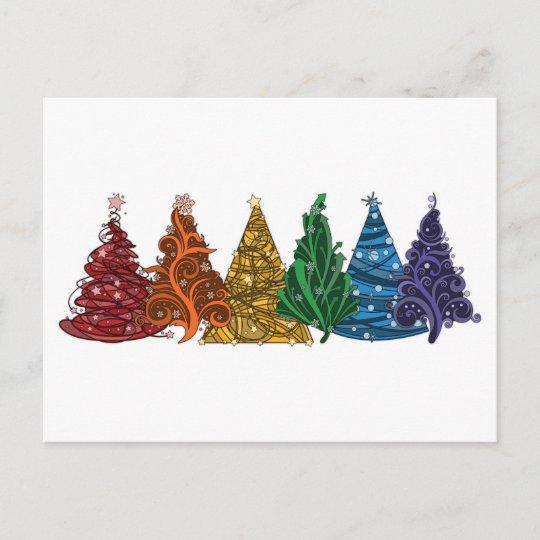 Rainbow Christmas Trees Holiday Postcard