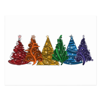 Rainbow Christmas Trees Postcard