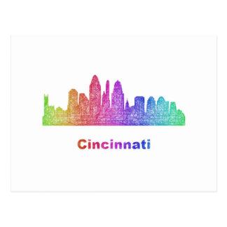 Rainbow Cincinnati skyline Postcard