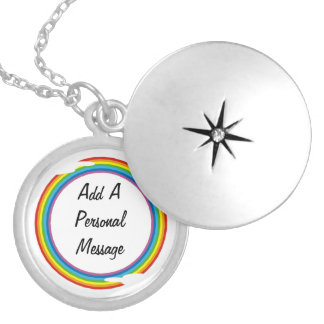 Rainbow Circle Template  Silver Plated Necklace