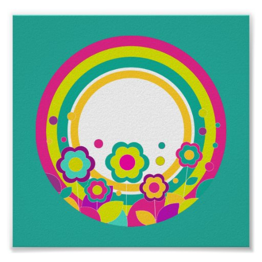 Rainbow Circle With Flowers Poster