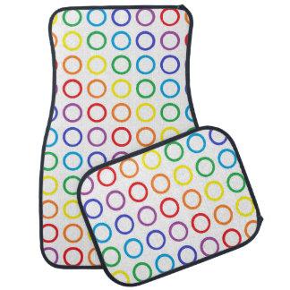 Rainbow Circles White Car Mat
