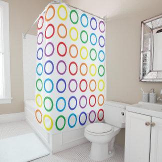 Rainbow Circles White Shower Curtain