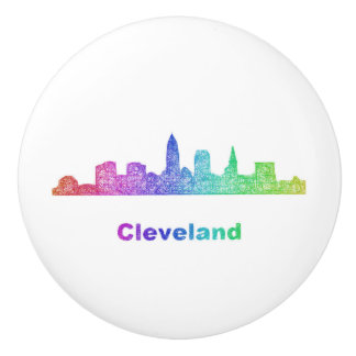 Rainbow Cleveland skyline Ceramic Knob