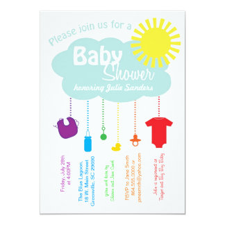 Rainbow Cloud Baby Shower Invitation