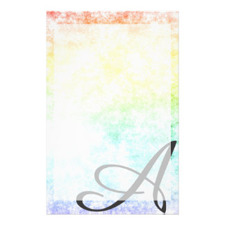 Rainbow Cloud Background Cloudy Customize Initial Stationery