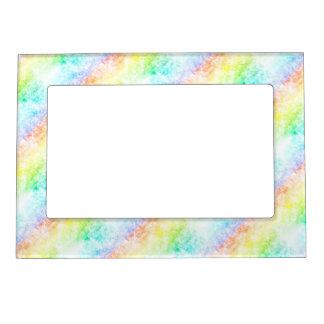 Rainbow Cloud Background Customize or Stay Cloudy Picture Frame Magnet