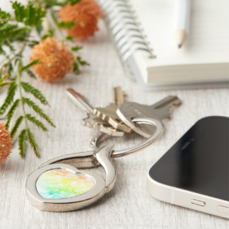 Rainbow Cloud Background Customize or Stay Cloudy Key Chains