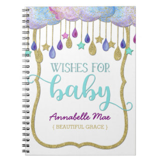 Rainbow Cloud Gold Glitter Wishes for Baby Shower Notebook