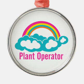 Rainbow Cloud Plant Operator Silver-Colored Round Decoration