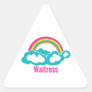 Rainbow Cloud Waitress Triangle Sticker